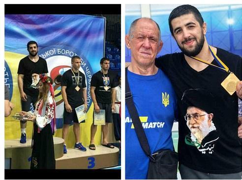 تصویر رهبر انقلاب روی پیراهن قهرمان اوکراینی کشتی
