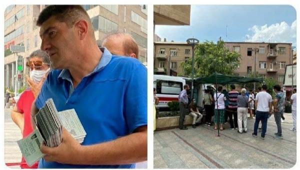 صف مسافران ایرانی در ارمنستان برای واکسن کرونا